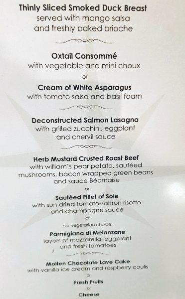 Speisekarte auf der MS Amadeus Elegant