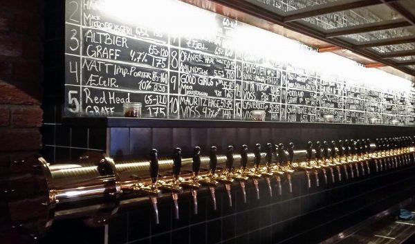 Bierauswahl bei der Brauerei Mack in Tromsø