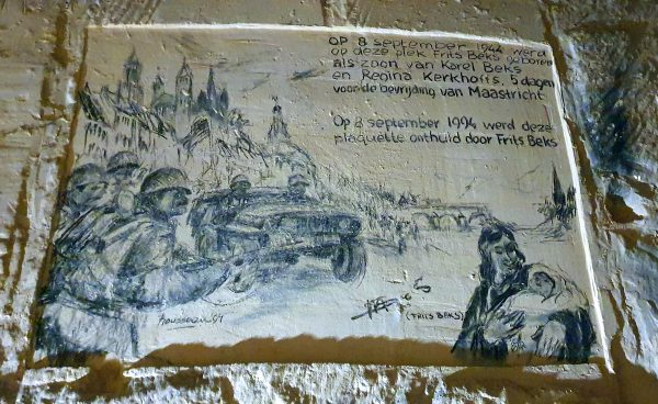 Eine Zeichnung in den Grotten von St. Pieter