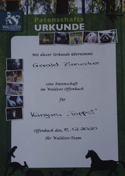 Meine Patenschafts-Urkunde für Toppsi im Waldzoo Offenbach