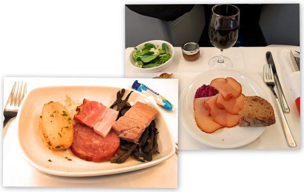 Mahlzeit! Zungenwurst (unten links), serviert bei Edelweiß von Zürich nach Varadero (Handy-Bilder)