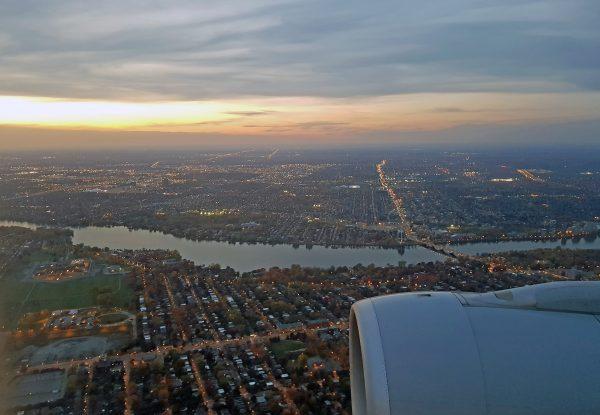 Auf dem Flug von München nach Montréal