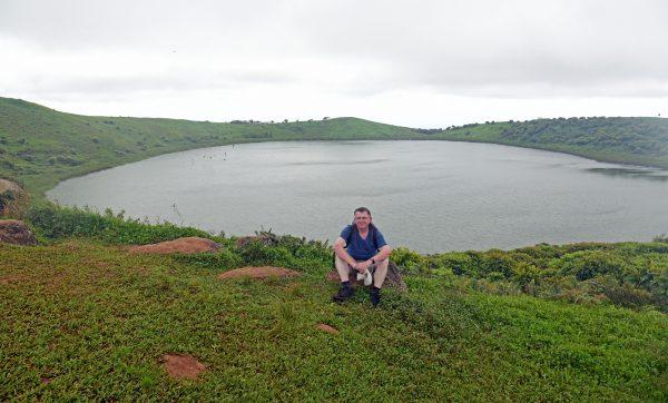 Zinni und der See El Junco in San Cristobal