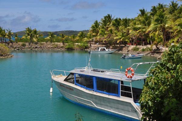 Der kleine Hafen des Wananavu Beach Resorts