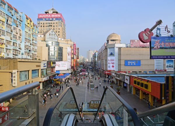 Eine Einkaufsstraße in Qingdao