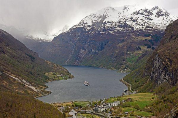 Der Geiranger-Fjord am 3. Mai 2018, Norwegen