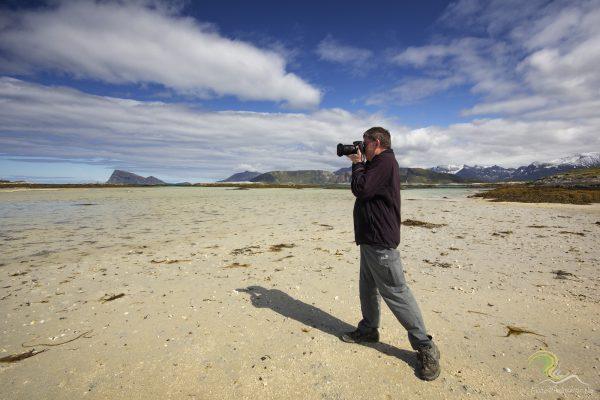Zinni am Strand von Sommarøy bei seiner Lieblingsbetätigung, mit freundlicher Genehmigung von 'Enjoy the Arctic'
