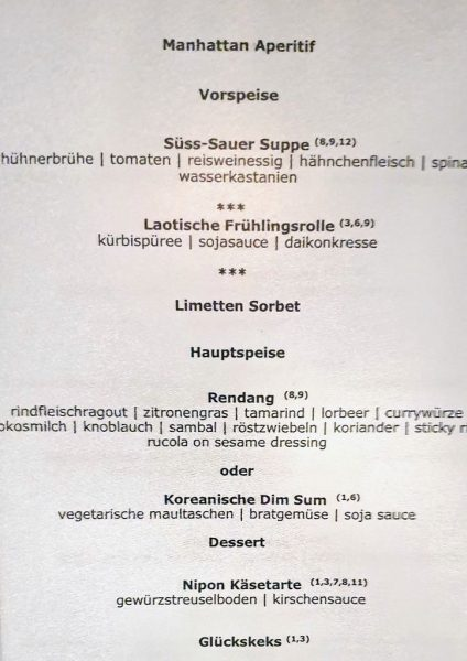 Eine Speisekarte für das Restaurant Manhattan auf der MS nickoVISION