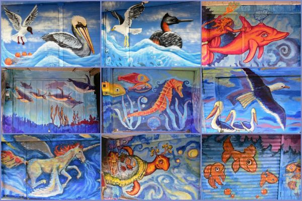 Sammlung von Meerestier-Bemalungen in Angelmó / Puerto Montt