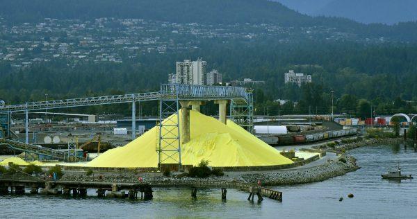Schwefel Haufen in Nord Vancouver